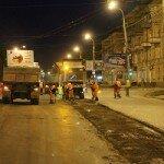 ремонт дороги ночью