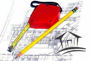 чертеж, рулетка и карандаш